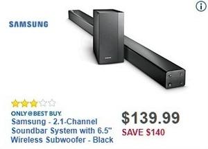 "Best Buy Black Friday: Samsung HW-M430/ZA 2.1 Channel Soundbar System w/6.5"" Wireless Subwoofer for $139.99"
