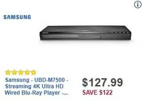 Best Buy Black Friday: Samsung UBD-M7500 Streaming 4K Ultra HD Wired Blu-Ray Player for $127.99