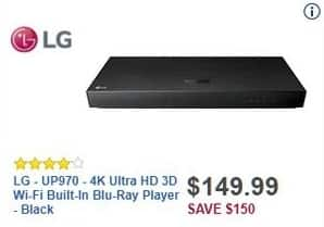 Best Buy Black Friday: LG UP970 4K Ultra HD 3D Wi-Fi Blu-Ray Player for $149.99