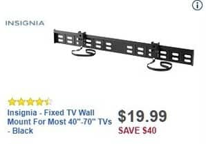 "Best Buy Black Friday: Insignia Fixed TV Wall Mount for Most 40-70"" TVs for $19.99"