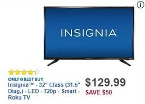 "Best Buy Black Friday: 32"" Insignia NS-32DR310NA17 720p LED Smart Roku TV for $129.99"