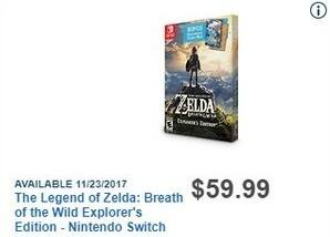 Best Buy Black Friday: The Legend of Zelda: Breath of the Wild Explorer's Edition for Nintendo Switch for $59.99