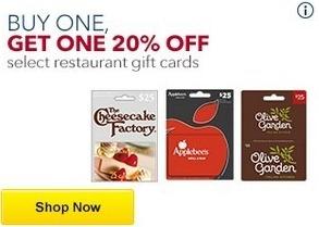 Best Buy Black Friday: Select Restaurant Gift Cards - B1G1 20% Off