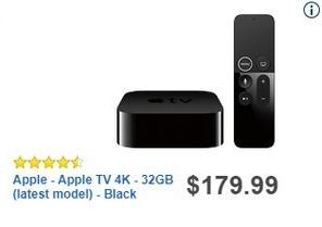 Best Buy Black Friday: 32GB Apple TV 4K Streaming Media Player for $179.99