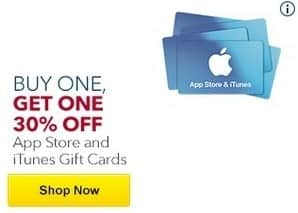 Best Buy Black Friday: Apple App Store and iTunes Gift Cards - B1G1 30% Off