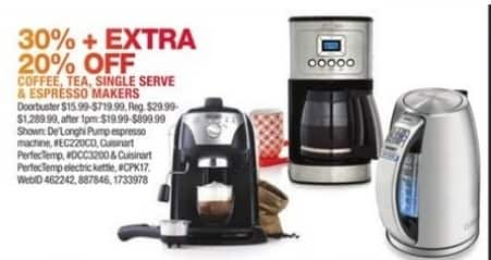 Macy's Black Friday: Select Small Appliances: De'Longhi Espresso Maker, Cuisinart Electric Kettle and More for $15.99 - $719.99