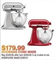 Macy S Black Friday Kitchenaid Ksm105gbc Stand Mixer For 179 99