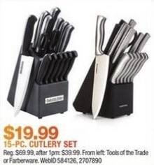 Macy's Black Friday: Tools of the Trade 15-Pc. Cutlery Set for $19.99