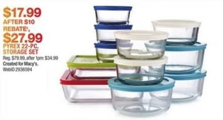 Macy's Black Friday: Pyrex 22 Piece Food Storage Container Set for $27.99 after $10 rebate