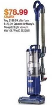 Macy's Black Friday: Shark NV106 Navigator Light Upright Vacuum Cleaner for $78.99