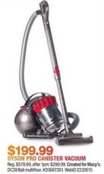 Macy's Black Friday: Dyson DC39 Ball Multifloor Pro Canister Vacuum for $199.99