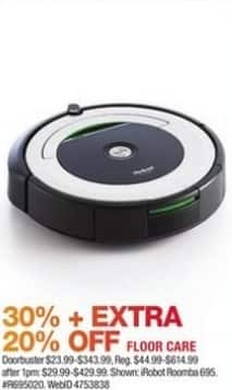 Macy's Black Friday: Select Floor Care: iRobot Roomba 695 Wi-Fi Robotic Vacuum and More for $23.99 - $343.99