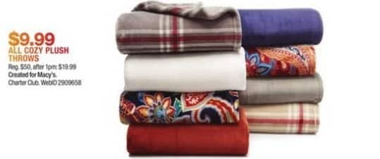 Macy's Black Friday: Entire Stock Cozy Plush Throws for $9.99
