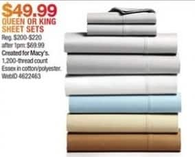 Macy's Black Friday: AQ Textiles Essex StayFit 6-Pc Sheet Sets 1200-Thread Count for $49.99