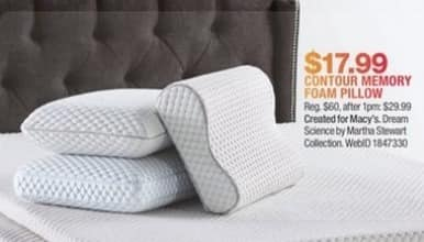 Macy's Black Friday: Martha Stewart Collection Dream Science Memory Foam Pressure Point Relief Contour Pillow for $17.99