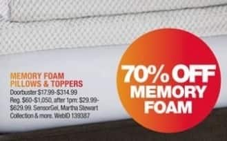 Macy's Black Friday: Entire Stock Memory Foam Pillows and Toppers for $17.99 - $314.99