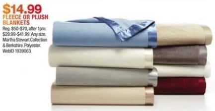 Macy's Black Friday: Fleece or Plush Blankets from Martha Stewart Collection and Berkshire for $14.99