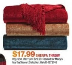 Macy's Black Friday: Martha Stewart Collection Classic Reversible Sherpa Throw for $17.99
