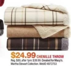 Macy's Black Friday: Martha Stewart Collection Chenille Throw for $24.99
