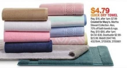 Macy's Black Friday: Martha Stewart Collection Quick Dry Towel for $4.79