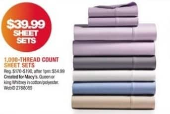 Macy's Black Friday: Fairfield Square Collection Whitney 4-Pc Sheet Sets for $39.99