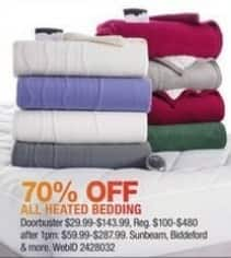 Macy's Black Friday: Entire Stock Heated Bedding: Sunbeam, Biddeford and More for $29.99 - $143.99