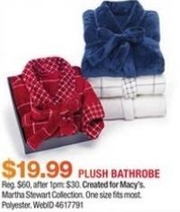 Macy's Black Friday: Martha Stewart Collection Plush Bath Robe for $19.99