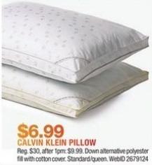 Macy's Black Friday: Calvin Klein Tossed Logo Print Density Down Alternative Gusset Hypoallergenic Pillow for $6.99