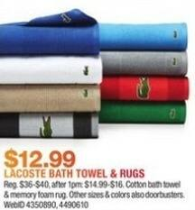 Macy's Black Friday: Lacoste Bath Towels or Rugs for $12.99
