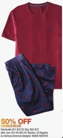 Macy's Black Friday: Select Men's Loungewear: Nautica, 32 Degrees and More for $11.00 - $37.50