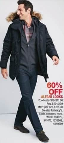 Macy's Black Friday: Select Alfani Looks: Coats, Sweaters and More for $16.00 - $71.60