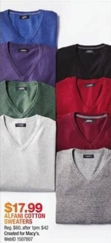 Macy's Black Friday: Alfani Men's Cotton Sweaters for $17.99
