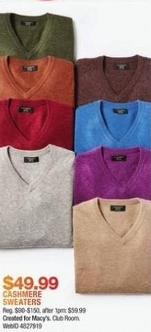 Macy's Black Friday: Club Room Men's V-Neck Cashmere Sweater for $49.99