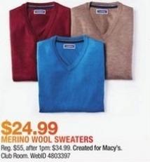Macy's Black Friday: Club Room Men's Merino Performance V-Neck Sweater for $24.99