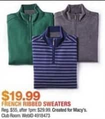 Macy's Black Friday: Club Room Men's Quarter-Zip Ribbed Cotton Sweater for $19.99