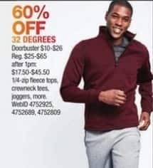 Macy's Black Friday: Select Men's 32 Degrees: Crewneck Tees, Joggers and More for $10.00 - $26.00