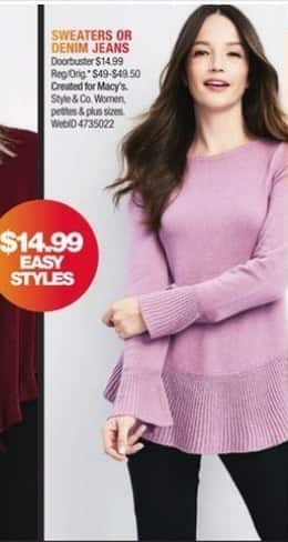 Macy's Black Friday: Style & Co Women's Sweaters or Denim Jeans for $14.99