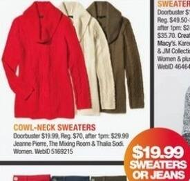 Macy's Black Friday: Select Cowl-Neck Sweaters: Jeanne Pierre, The Mixing Room and More for $19.99