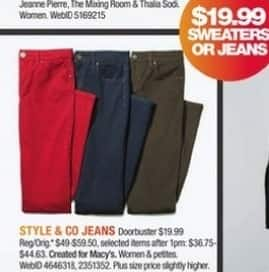 Macy's Black Friday: Select Style & Co Women's Jeans for $19.99