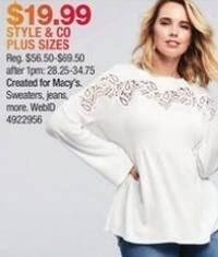 Macy's Black Friday: Select Style & Co Women's Plus Sizes: Sweaters, Jeans and More for $19.99