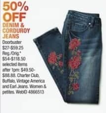 Macy's Black Friday: Select Women's Denim and Corduroy Jeans: Charter Club, Buffalo and More for $27.00 - $59.25