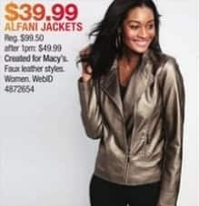 Macy's Black Friday: Alfani Women's Metallic Faux-Leather Jacket for $39.99