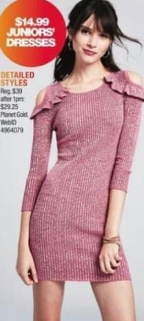 Macy's Black Friday: Select Womens' Juniors' Dresses from Planet Gold for $14.99