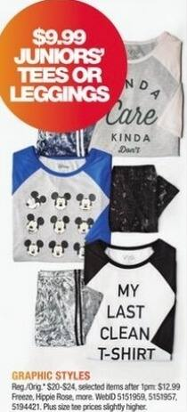 Macy's Black Friday: Juniors' Graphic Tees or Leggings from Freeze, Hippie Rose and More for $9.99