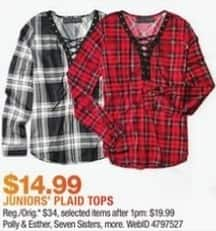 Macy's Black Friday: Select Juniors' Plaid Tops: Polly & Esther, Seven Sisters and More for $14.99
