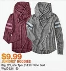 Macy's Black Friday: Planet Gold Juniors' Burnout Crisscross-Trim Hoodie for $9.99