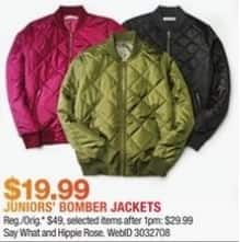 Macy's Black Friday: Select Juniors' Bomber Jackets from Say What and Hippie Rose for $19.99