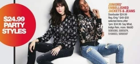 Macy's Black Friday: Juniors' Embellished Jackets and Jeans: Say What, Indigo Rain and More for $24.99