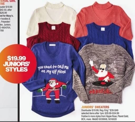 Macy's Black Friday: Select Juniors' Holiday Sweaters: Hippie Rose, Planet Gold and More for $24.99