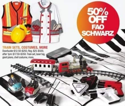 Macy's Black Friday: Select FAO Schwarz Train Sets, Costumes and More: Laser Tag, Giant Piano and More for $12.50 - $250.00